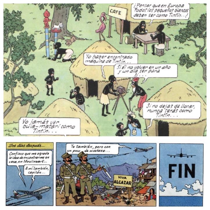 """Arriba: La última viñeta de """"Tintín en el Congo"""" (primer cómic de Tintín). Abajo: La última tira de """"Tintín y los pícaros"""" (último cómic de Tintín). Han pasado los años, pero algo permanece: sin el hombre blanco el resto del mundo está perdido."""
