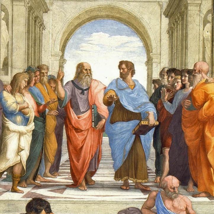 """Fragmento del cuadro """"La escuela de Atenas""""."""